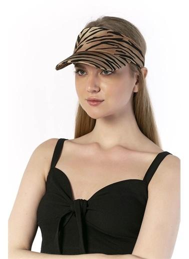 Y-London 14068 Zebra Desenli Üstü Açık Vizör Şapka Renkli